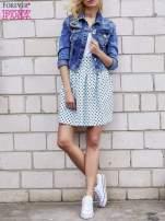 Jasnoniebieska spódnica w grochy z plisami                                                                          zdj.                                                                         2