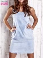 Jasnoniebieska sukienka jeansowa o kroju litery A                                                                          zdj.                                                                         1