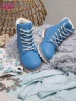 Jasnoniebieskie buty trekkingowe damskie traperki ocieplane                                                                          zdj.                                                                         2