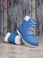 Jasnoniebieskie buty trekkingowe damskie traperki ocieplane                                                                          zdj.                                                                         4