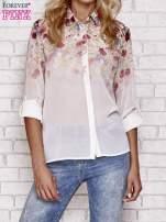 Jasnoróżowa koszula mgiełka z nadrukiem róż                                                                          zdj.                                                                         1