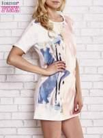 Jasnoróżowa malowana sukienka mini                                                                          zdj.                                                                         3