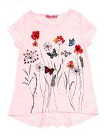 Jasnoróżowa tunika dla dziewczynki z motywem łąki                                  zdj.                                  1