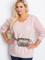 Jasnoróżowy sweter plus size Flower                                  zdj.                                  3