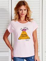 Jasnoróżowy t-shirt damski JESTEM SŁODKA by Markus P                                  zdj.                                  1