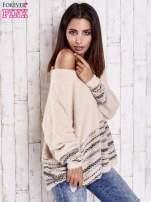 Jasnoróżowy włochaty sweter oversize z kolorową nitką                                   zdj.                                  1