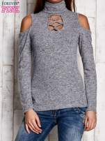 Jasnoszara bluzka z rękawami cut out shoulder                                  zdj.                                  1