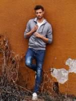 Jasnoszara melanżowa bluza męska z zasuwanymi kieszeniami                                  zdj.                                  9