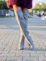 Jasnoszare zamszowe kozaki faux suede na szpilkach z bocznym wiązaniem                                  zdj.                                  2