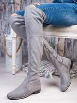 Jasnoszare zamszowe kozaki faux suede za kolana wiązane na sznurek nad kolanem                                  zdj.                                  1