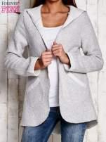 Jasnoszary otwarty sweter z kapturem                                  zdj.                                  1