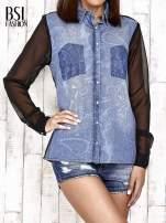 Jeansowa koszula z tiulowymi rękawami                                                                          zdj.                                                                         1