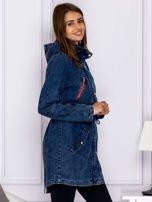 Jeansowa parka z kolorowymi suwakami niebieska                                  zdj.                                  3