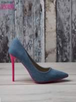 Jeansowe szpilki na różowym obcasie Denim Glam                                  zdj.                                  2