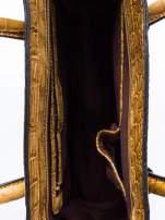 Kawowa trapezowa torba miejska z efektem skóry krokodyla