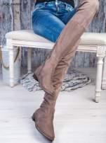 Kawowe zamszowe kozaki faux suede za kolana wiązane na sznurek nad kolanem                                  zdj.                                  2