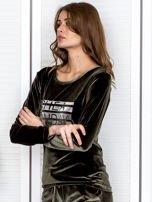 Khaki aksamitna bluza ze srebrnym nadrukiem                                  zdj.                                  3