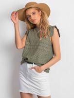Khaki ażurowana bluzka damska                                  zdj.                                  4