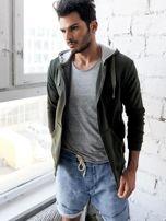 Khaki bluza męska z kapturem rozpinana                                  zdj.                                  6