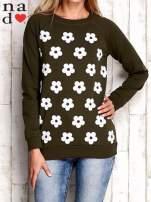 Khaki bluza z nadrukiem kwiatów                                                                          zdj.                                                                         1