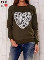 Khaki bluza z nadrukiem serca                                  zdj.                                  1
