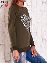 Khaki bluza z nadrukiem serca i napisem JE T'AIME                                   zdj.                                  3