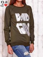 Khaki bluza z napisem BAD GIRL                                  zdj.                                  3