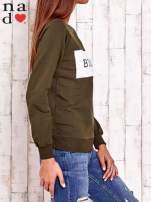 Khaki bluza z napisem BE NICE                                  zdj.                                  3