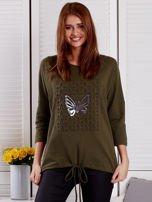 Khaki bluza z motywem motyli                                  zdj.                                  1