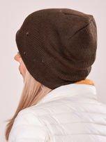 Khaki czapka z metalowymi dżetami                                  zdj.                                  3