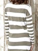 Khaki długi sweter w szerokie paski Funk n Soul                                  zdj.                                  6