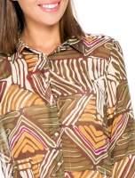 Khaki koszula w kolorowe zygzaki                                  zdj.                                  7