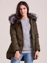 Khaki kurtka zimowa z kapturem i futerkiem                                  zdj.                                  7