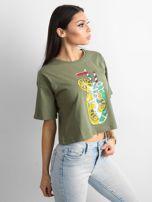 Khaki luźny t-shirt z nadrukiem                                  zdj.                                  3