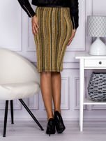 Khaki pasiasta spódnica midi z zipem                                  zdj.                                  2