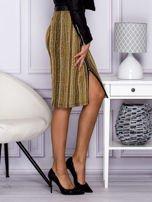 Khaki pasiasta spódnica midi z zipem