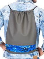 Khaki plecak worek z geometryczną wstawką                                   zdj.                                  1