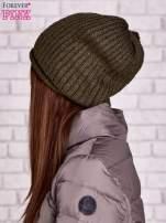 Khaki prążkowana czapka                                  zdj.                                  2