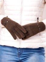 Khaki proste rękawiczki z ćwiekami                                  zdj.                                  3