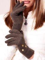 Khaki rękawiczki z ćwiekami i ściągaczem