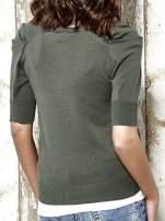 Khaki sweter kardigan z marszczonymi rękawami Funk n Soul