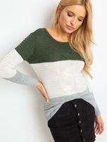 Khaki-szary sweter w szerokie pasy                                  zdj.                                  3