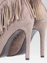 Khaki sznurowane botki open toe z frędzlami