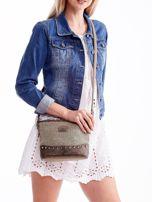 Khaki torebka listonoszka z plecioną wstawką                                  zdj.                                  1