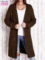 Khaki wełniany sweter bouclé z kieszeniami                                                                          zdj.                                                                         1