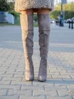 Khaki zamszowe kozaki faux suede na szpilkach za kolano                                  zdj.                                  1