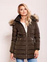 Khaki zimowa kurtka z kapturem                                  zdj.                                  1