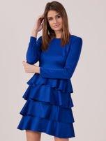 Kobaltowa sukienka z warstwowymi falbanami                                  zdj.                                  5