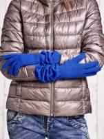 Kobaltowe długie rękawiczki z marszczonym ściągaczem                                                                           zdj.                                                                         2