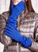 Kobaltowe długie rękawiczki z marszczonym ściągaczem                                   zdj.                                  1